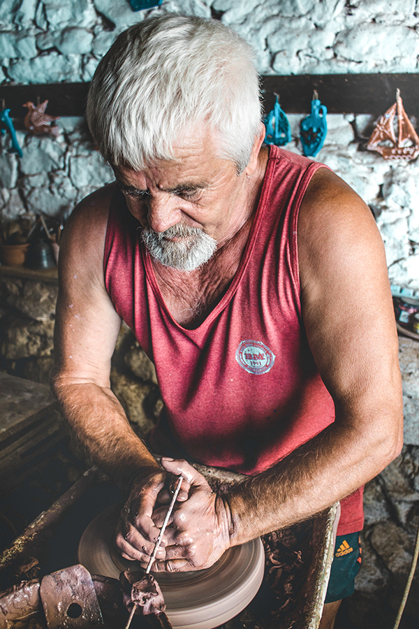 portrait photography costis in his pottery on thassos/greece